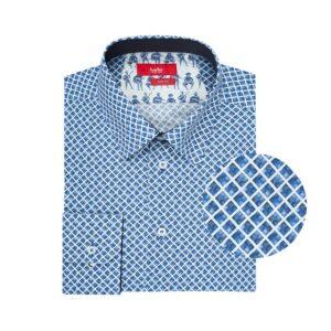 Camisa blanca rombos en Algodón 100% Esloveno. Silueta slim fit, cuello en punta con button under y contrastes en cuello,  puño interno y portañuela.