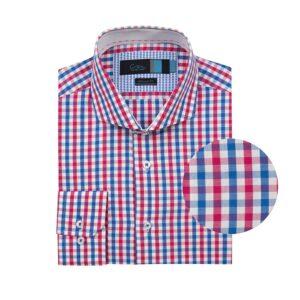 Camisa manga larga, a cuadros azul y rojo, regular fit, cuello abierto con botón escondido. Algodón Pima de origen Peruano.
