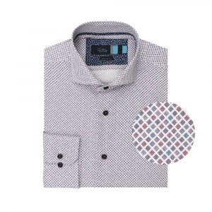 Camisa fucsia estampada con rombos, en algodón 100% de origen Esloveno.