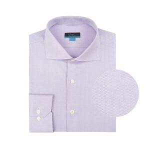 Camisa manga larga lila textura tipo oxford, regular fit, cuello abierto con botón escondido. Algodón Pima de origen Peruano.