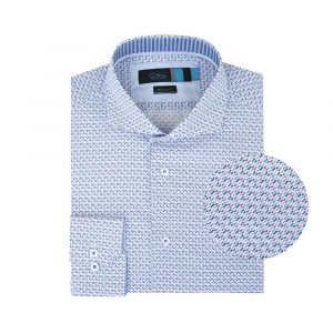 Camisa morada estampada con mini  print multicolor elaborada en Algodón 100% de origen Esloveno, silueta regular y cuello abierto con button under.