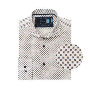 Camisa estampada a cuadros multicolor en 100% algodón Esloveno.