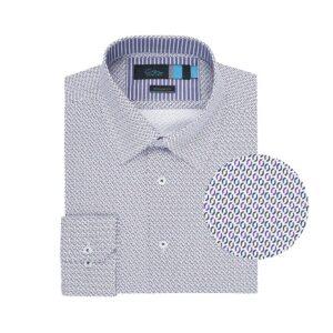 Camisa multicolor print en Algodón 100% de origen Esloveno, silueta regular y contraste en cuello interno.