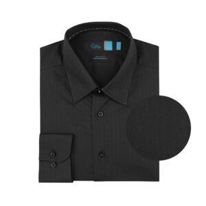 Camisa manga larga negra textura en espina de pescado, regular fit, cuello cerrado con botón escondido. Algodón Pima de origen Peruano.