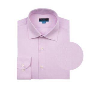 Camisa manga larga rosada, Regular fit, cuello cerrado con botón escondido. Algodón de origen Peruano.