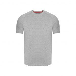 Camiseta gris jaspeada en 100% algodón, silueta regular.