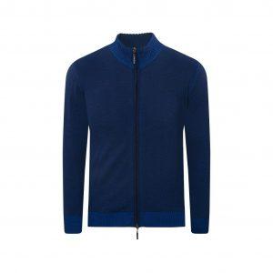 Cárdigan bicolor azul cuello neru con doble cremallera. Tejido en lana merino 100% Italiana.