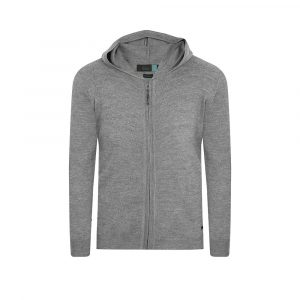 Cárdigan gris con capota. Tejido en lana merino 100% Italiana.