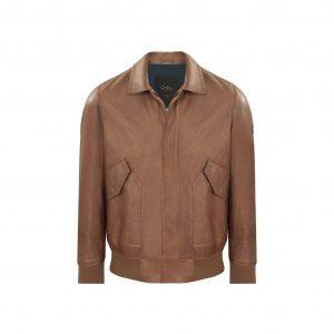 Chaqueta miel aviador en cuero de Napa, regular fit, bolsillos utilitarios y detalles personalizados CN.