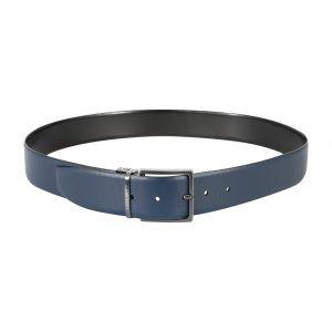 Cinturón reversible negro - azul en cuero y hebilla en níquel.