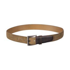 Cinturón arena en cuero con extremo esfumado y hebilla en níquel.