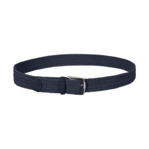 Cinturón trenzado azul que permite elasticidad gracias a su tejido, puntera en cuero y hebilla en níquel.