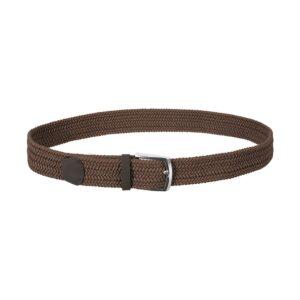 Cinturón trenzado café que permite elasticidad gracias a su tejido, puntera en cuero y hebilla en níquel.