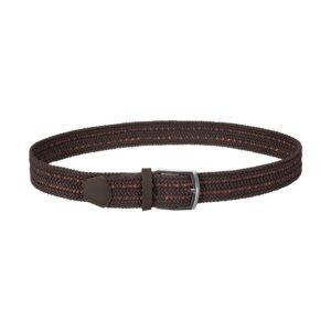 Cinturón trenzado cafe con cantraste naranja que permite elasticidad gracias a su tejido, puntera en cuero cafe y hebilla en níquel.