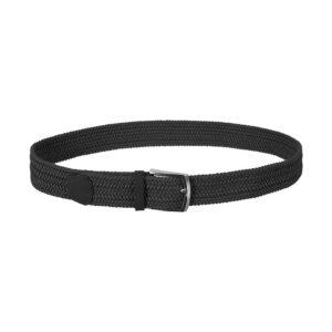 Cinturón trenzado negro que permite elasticidad gracias a su tejido, puntera en cuero y hebilla en níquel.