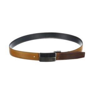 Cinturón reversible negro/ miel en cuero con acabado esfumado y hebilla metálica personalizada CN.