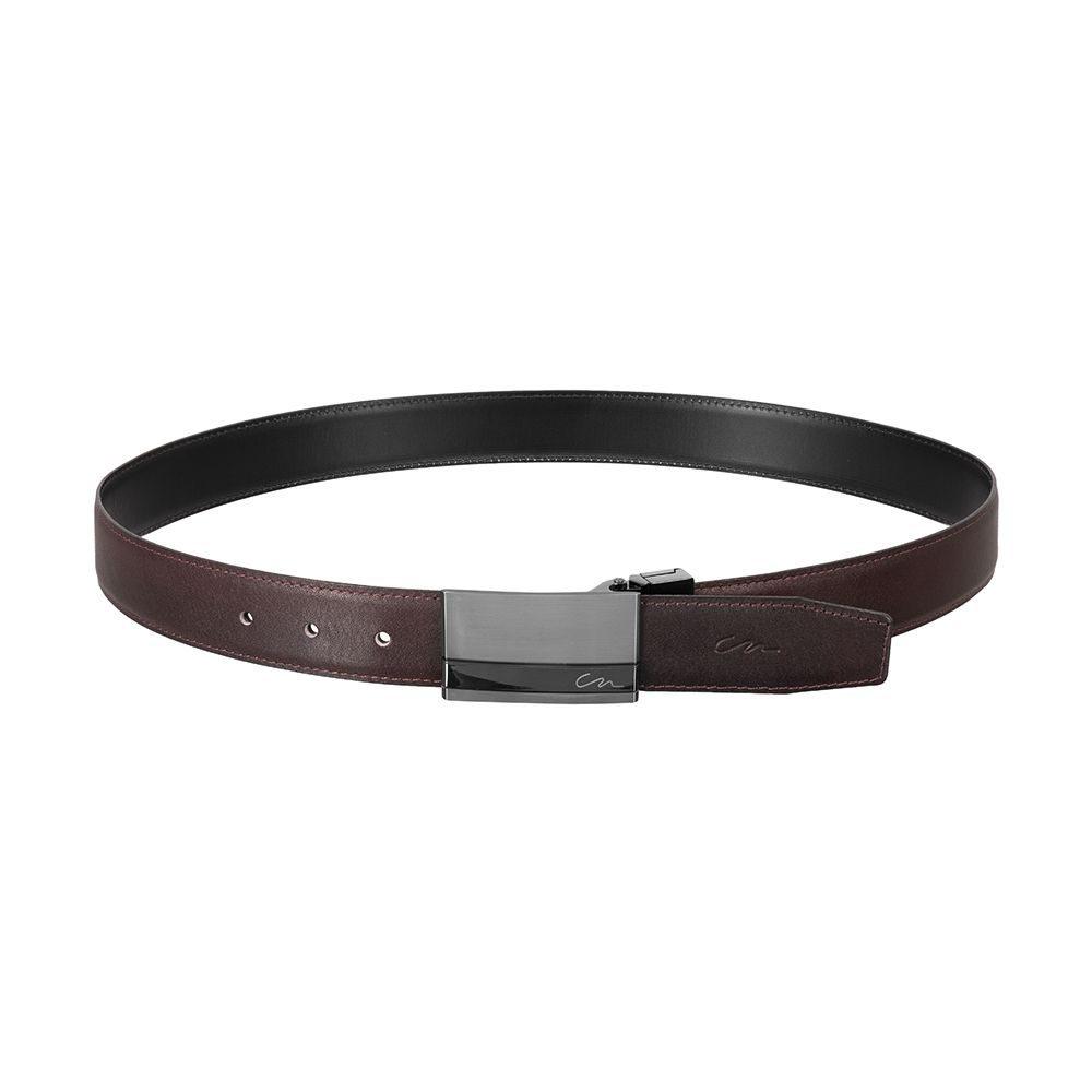 Cinturón reversible negro/ vinotinto en cuero y hebilla metalica personalizada CN.