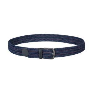 Cinturón trenzado azul con contraste rojo que permite elasticidad gracias a su tejido, puntera en cuero y hebilla en níquel.