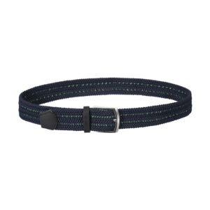 Cinturón trenzado con mezcla de tonos verde y azul que permite elasticidad gracias a su tejido, puntera en cuero y hebilla en níquel.