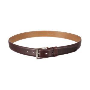 Cinturón vinotinto en cuero y hebilla en níquel.