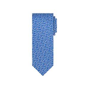 Corbata azul flores en jacquard seda de origen Francés.
