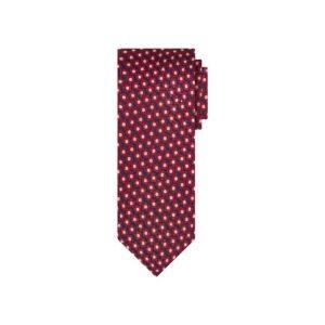 Corbata azul flores rojas en jacquard seda de origen Francés. Ideal para un look elegante y contemporáneo.