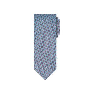 Corbata azul con print azul en seda de origen Francés.