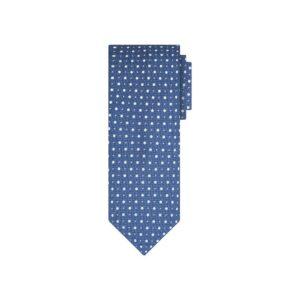 Corbata azul puntos en jacquard de seda de origen Francés.