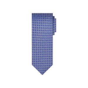Corbata morada cuadros en jacquard seda de origen Francés.