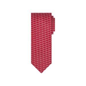 Corbata roja circulos en jacquard seda de origen Francés.