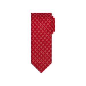 Corbata roja cuadros en jacquard seda de origen Francés.
