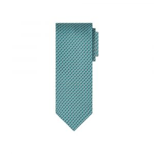 Corbata verde puntos print en jacquard de seda de origen Francés.