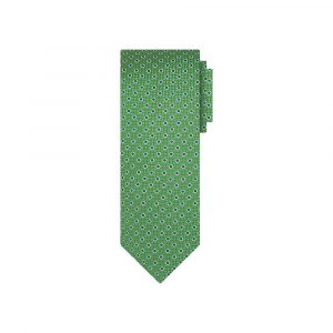 Corbata verde puntos azules en jacquard seda de origen Francés.