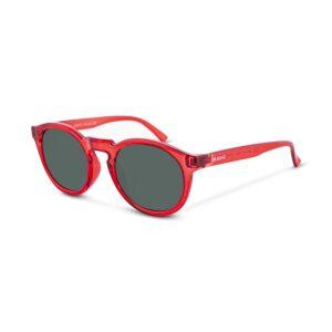 Gafas Italianas con montura redonda en acetato rojo y lentes oscuros con protección total UV400. Categoría 3.