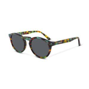 Gafas Italianas con montura redonda en acetato multicolor y lentes oscuros con protección total UV400. Categoría 3.