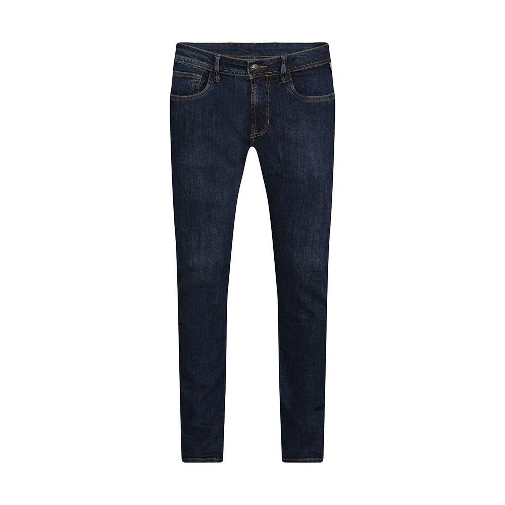 Jean azul oscuro en mezcla algodón.