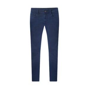 Jean azul stone oscuro en Algodón elastano, apliques personalizados y silueta slim fit. Brinda alta confortabilidad gracias a su base textil.