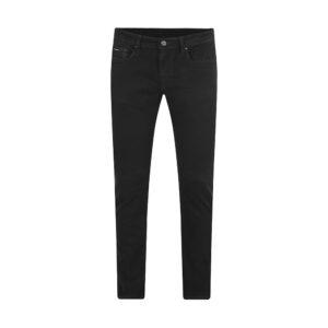 Jean negro en mezcla Algodón elastano la cual brinda un mayor confort, silueta slim fit y apliques personalizados.