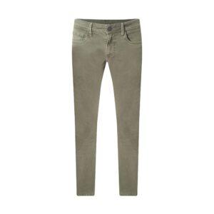 Jean verde stone medio con ligero desgaste en Algodón con elastano, apliques personalizados, silueta slim fit y alta confortabilidad gracias a su base textil.