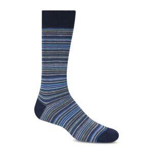 Mediasazules con rayas horizontales en diversos colores, tejidas en algodón con elastano. Origen Portugal.