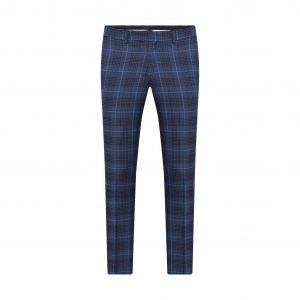 Pantalón elaborado con Lana 100% Italiana de Reda en color azul a cuadros, silueta slim fit y bolsillos sesgados.