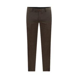 Pantalón café jaspeado con corte clásico, regular fit y lana 100% Italiana de Reda.