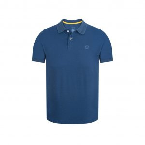 Polo azul medio elaborada en fibra natural 100% algodón con detalles en contraste.