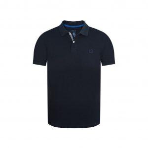 Polo azul oscura elaborada en fibra natural 100% algodón con detalles en contraste.
