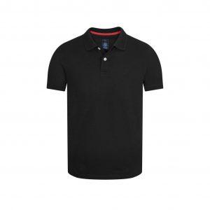 Polo negra elaborada en fibra natural 100% algodón con detalles en contraste.