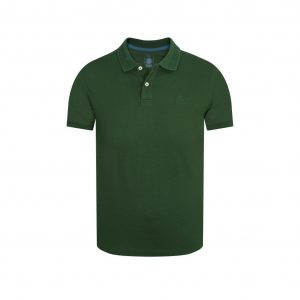 Polo verde elaborada en fibra natural 100% algodón con detalles en contraste.
