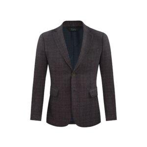 Saco azul a cuadros tonos café y crema jaspeado, dos botones y bolsillos de tapa. Regular fit elaborado con lana 100% Italiana. Fabricante Reda.