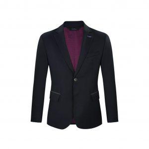 Saco azul en Flanel, dos botones con coderas en contraste. Regular fit elaborado con Lana 100% Italiana, fabricante Reda.