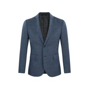 Saco azul medio jaspé, silueta clásica y versátil con bolsillos de tapa. Confeccionado con Lana Italiana brindando tacto suave y confortable.