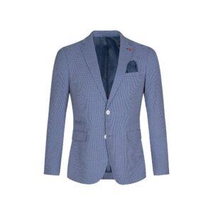Saco azul medio des-estructurado sin forro y bolsillo de parche. Confeccionado en España, con tacto ligero y confortable.